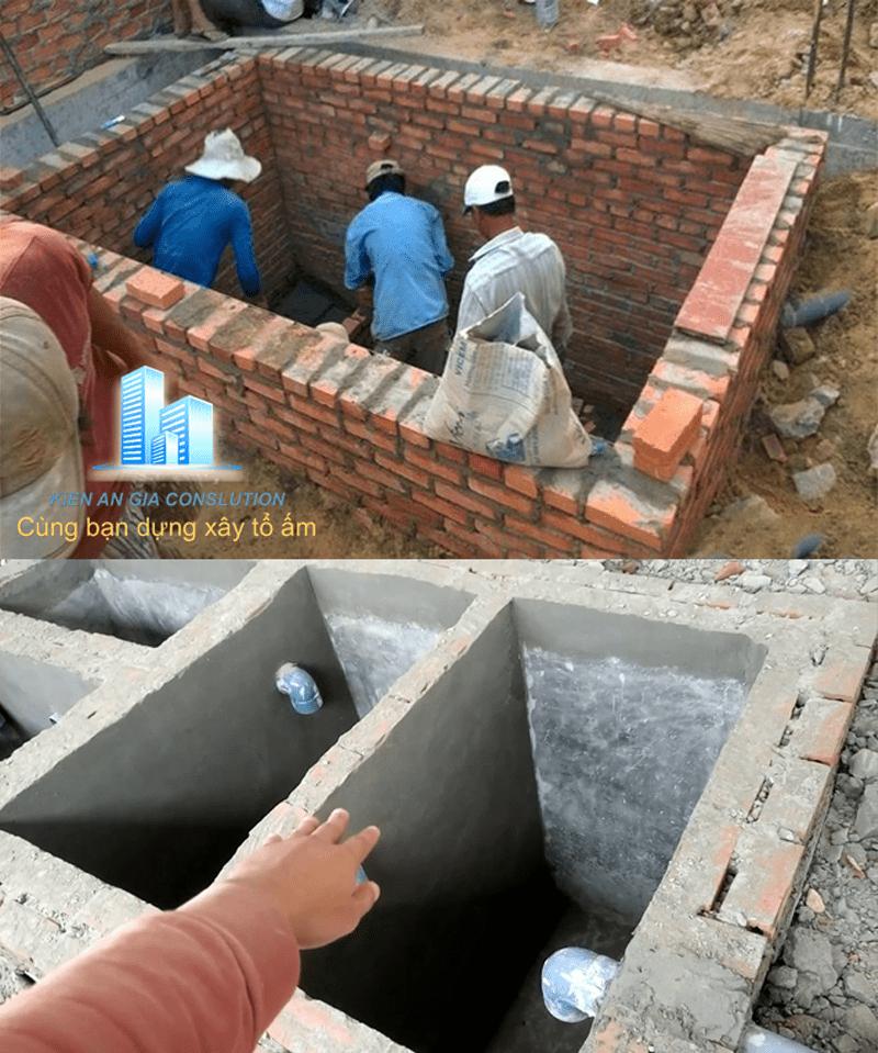 Thi công xây nâng hầm phân, hố ga thoát nước sinh hoạt.