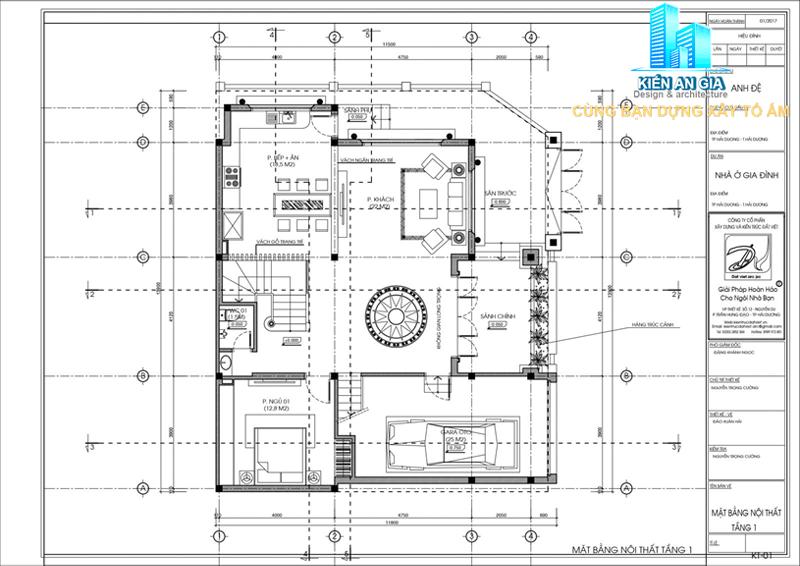 Mặt bằng tầng trệt mẫu biệt thự 3 tầng