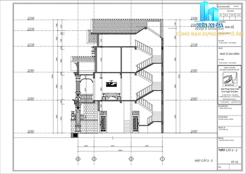 Mặt cắt dọc biệt thự 3 tầng-xây dựng kiến an gia.