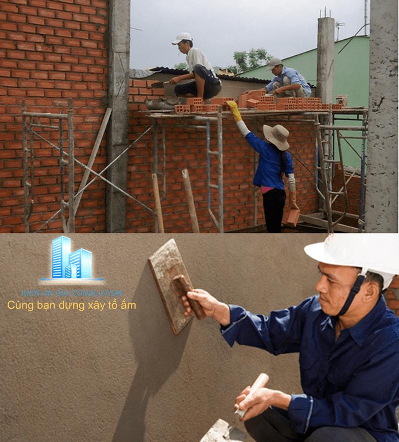Thi công xây-tô tường.
