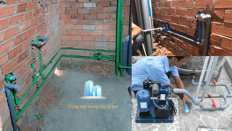 Thi công hệ thống cấp thoát nước cho wc, bồn chứa nước.