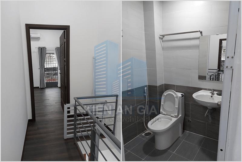 Sửa chữa nhà vệ sinh và hành lang.