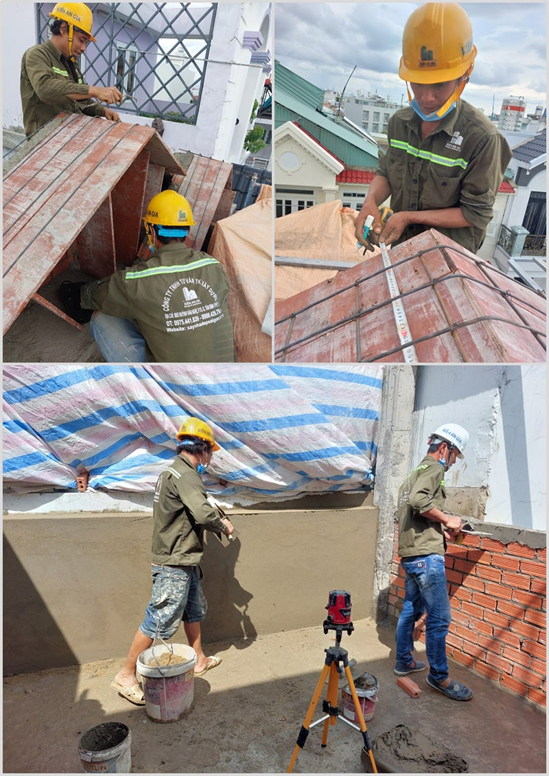 Công nhân đang thi công xây dựng nhà
