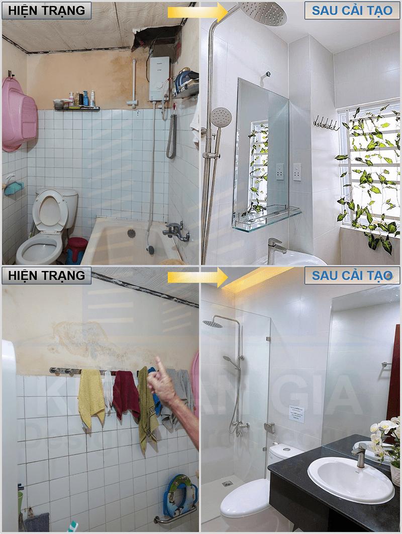 Sửa chữa nhà vệ sinh, thay gạch nền nhà vệ sinh.