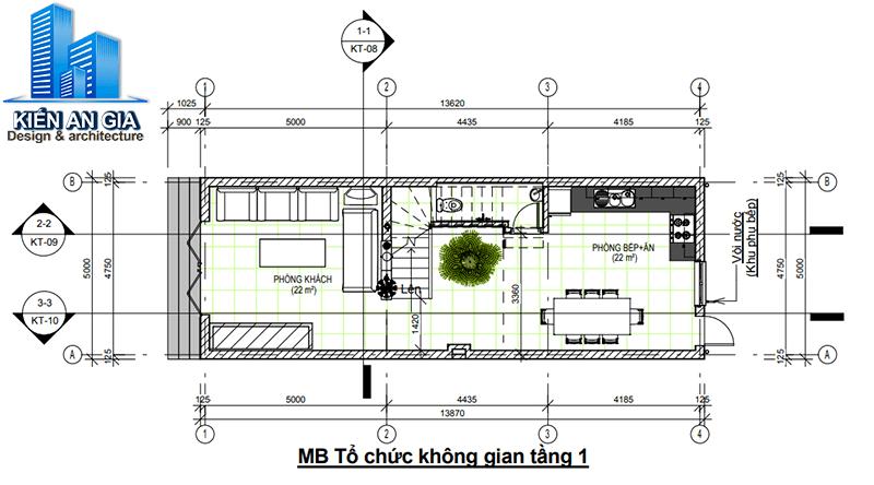 Tính diện tích sàn xây dựng tầng 1.