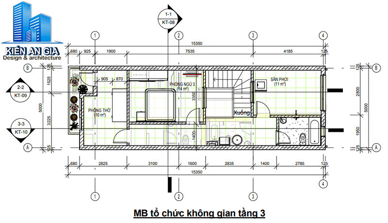 Tính diện tích sàn xây dựng tầng 3