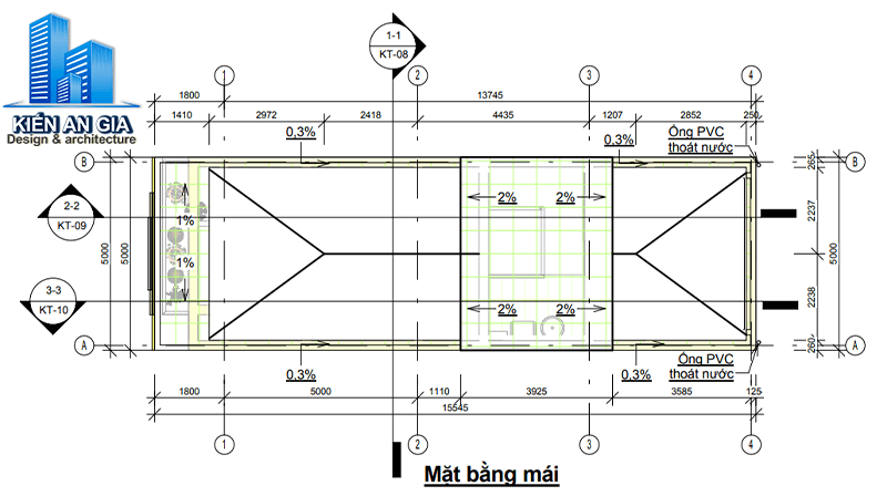 Tính diện tích sàn xây dựng tầng mái